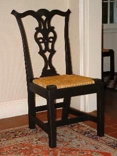 Chippendale Side Chair With Rush Seat In Antiqued Black Milk Paint