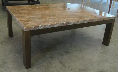 Granite Top Coffee Table With Maple Base (Front View)